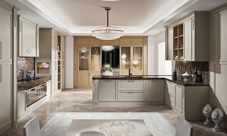Cuisine classique de marque Oldline cuisines en massif massif et plan de travail en marbre