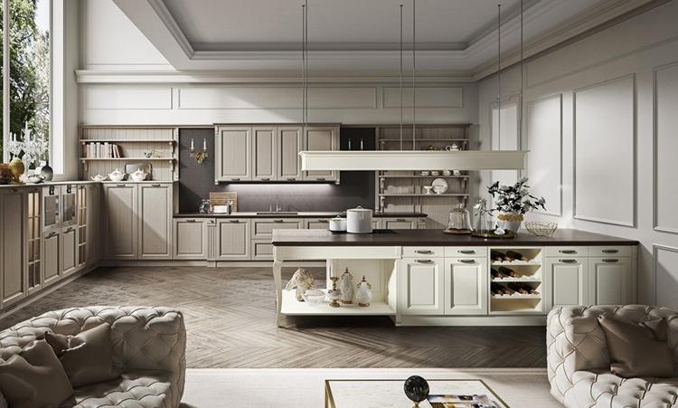 Cuisine classique de marque Oldline cuisines en massif massif et plan de travail en Dekton