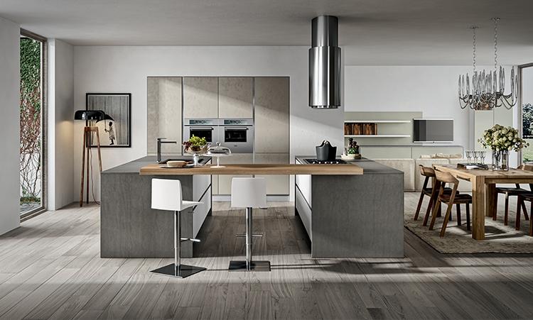 Cuisine industrielle de marque Home cuisines en stratifié et plan de travail en Dekton et bois massif
