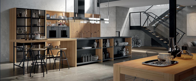 Cuisine de style industrielle de marque Oldline en chêne massif et plan de travail massif et en granit