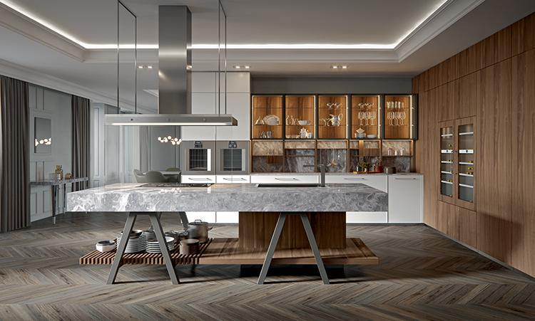 Cuisine industrielle de marque Oldline cuisines en laquée et bois massif et plan de travail en marbre