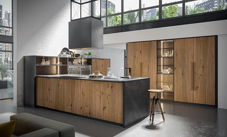 Cuisine industrielle de marque Oldline cuisines en bois massif et plan de travail en Dekton