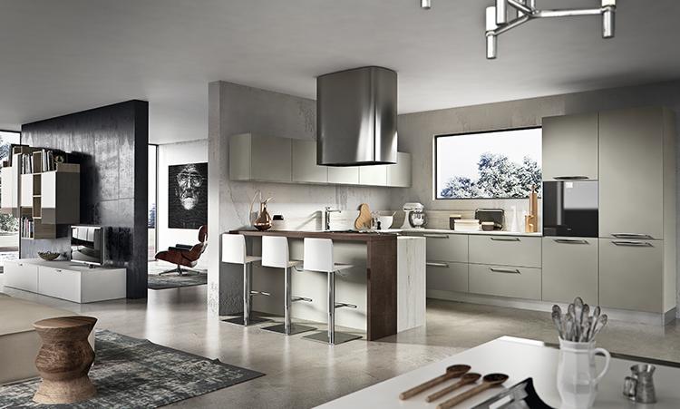Cuisine moderne de marque Home cuisines en Laquée et plan de travail en Silestone