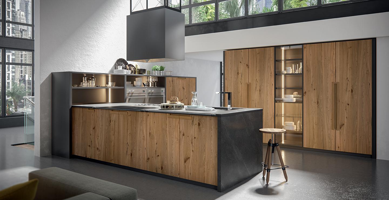 Cuisine contemporaine de marque Oldline en bois massif et plan de travail en granit