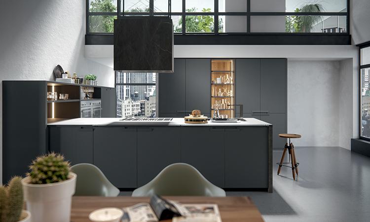 Cuisine moderne de marque Oldline cuisines en fenix et plan de travail en inox