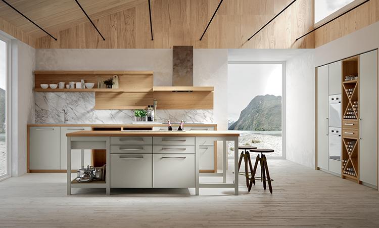 Cuisine moderne de marque Oldline cuisines en laquée et plan de travail en bois massif