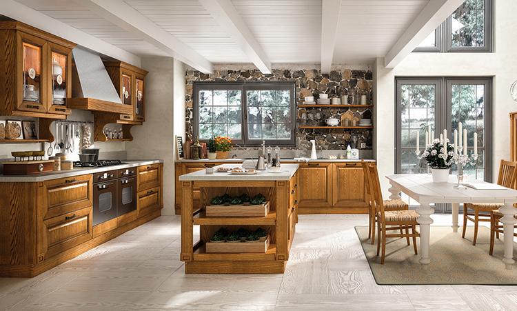 Cuisine classique de marque Home cucine en massif et plan de travail en stratifié