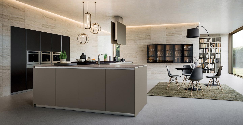 Cuisine moderne de marque Armony cuisine laquée et plan de travail en Silestone
